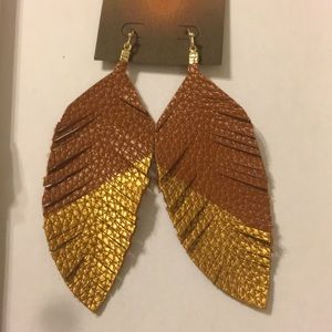 Jewelry - Brown & Gold Faux Leather Leaf Earrings